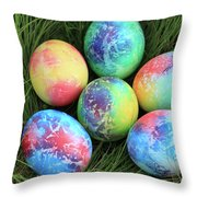 Colorful Easter Eggs On Green Grass Throw Pillow