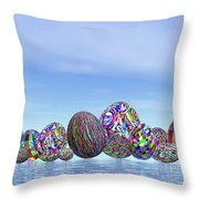 Colorful Eggs For Easter - 3d Render Throw Pillow