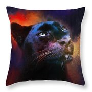 Colorful Expressions Black Leopard Throw Pillow