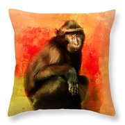 Colorful Expressions Black Monkey Throw Pillow