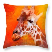 Colorful Expressions Giraffe Throw Pillow