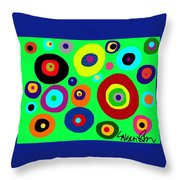 Colorful Eyes In The Green Sky Throw Pillow