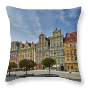 colorful facades on Market Square or Ryneck of Wroclaw Throw Pillow