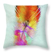 Colorful Feather Art Throw Pillow