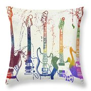 Colorful Fender Guitars Paint Splatter Throw Pillow