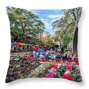 Colorful Festival Along River Walk Throw Pillow