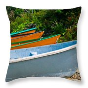 Colorful Fishing Boats On A Rocky Shore  Grand Manan Throw Pillow