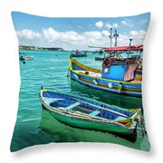 Colorful Fishing Boats Throw Pillow