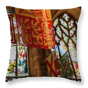 Colorful Flags And Stained Glasss Windows Throw Pillow