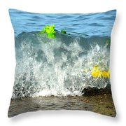 Colorful Flowers Crashing Inside A Wave Against The Shoreline Throw Pillow