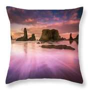 Colorful Flux From Seastacks Throw Pillow