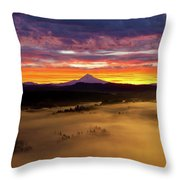 Colorful Foggy Sunrise Over Sandy River Valley Throw Pillow