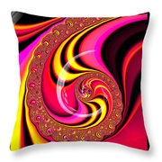 Colorful Fractal Spiral Red Yellow Pink Throw Pillow