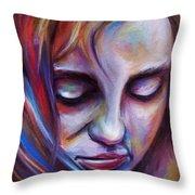 Colorful Girl Throw Pillow