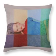 Colorful Girl Throw Pillow