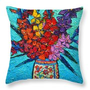 Colorful Gladiolus Throw Pillow