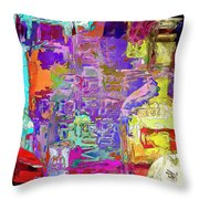 Colorful Glass Bottles Abstract Throw Pillow