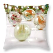 Colorful Glass Marbles Close-up Views Throw Pillow