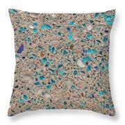 Colorful Glass Recycled For Construction Of Concrete Sidewalk Throw Pillow