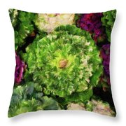 Colorful Green, White And Purple Flowers Painting Throw Pillow