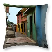 Colorful Guayaquil Alley Throw Pillow