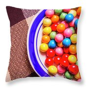 Colorful Gumballs On Plate Throw Pillow