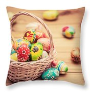 Colorful Hand Painted Easter Eggs In Basket And On Wood Throw Pillow