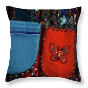 Colorful Hanging Pouches Throw Pillow