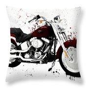 Colorful Harley Davidson Paint Splatter Throw Pillow