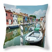 Colorful Homes Of Burano Throw Pillow