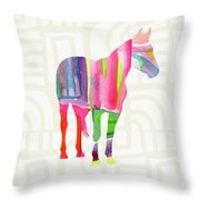 Colorful Horse 2- Art By Linda Woods Throw Pillow