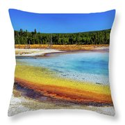 Colorful Hot Spring In Yellowstone Throw Pillow