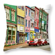 Colorful Houses In St Johns In Newfoundland Throw Pillow