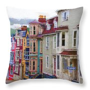 Colorful Houses In St. Johns, Nl Throw Pillow