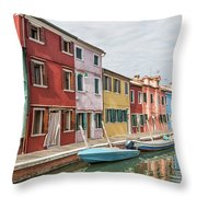 Colorful Houses On The Island Of Burano Throw Pillow