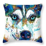 Colorful Husky Dog Art By Sharon Cummings Throw Pillow