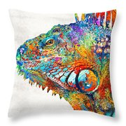 Colorful Iguana Art - One Cool Dude - Sharon Cummings Throw Pillow