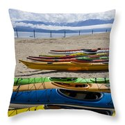 Colorful Kayaks Throw Pillow