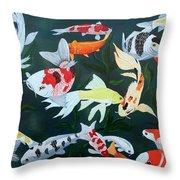 Colorful Koi Throw Pillow