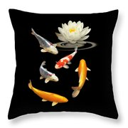 Colorful Koi With Water Lily Throw Pillow