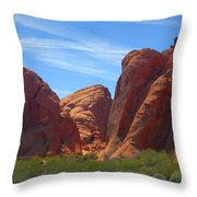 Colorful Landscape Rock Mountains Of Overton Nevada  Throw Pillow