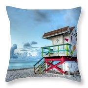 Colorful Lifeguard Tower Throw Pillow