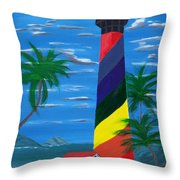 Colorful Lighthouse Throw Pillow