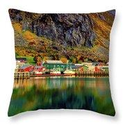 Colorful Lofoten, Norway Throw Pillow