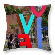 Colorful Love Sign In Kaohsiung Throw Pillow