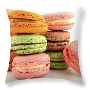 Colorful Macaroons Throw Pillow