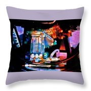 Colorful Machine In Blue And Purple Throw Pillow
