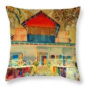 Colorful Mauritiun Cottage Throw Pillow