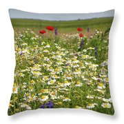 Colorful Meadow With Wild Flowers Throw Pillow