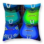Colorful Mexican Guitars Throw Pillow